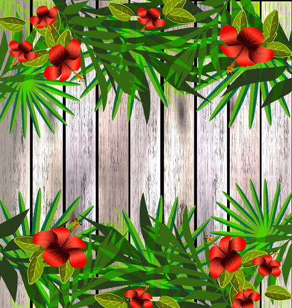 tropical garden: Tropical flowers and leaves over wood. Floral design background. Bright color vibrant poster Illustration