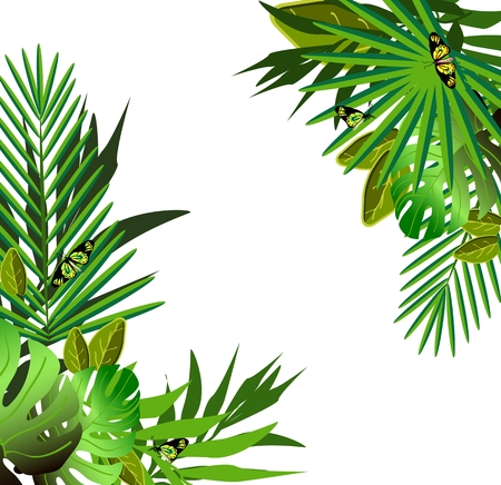 Tropical flowers and leaves. Floral design background. Bright color vibrant illustration
