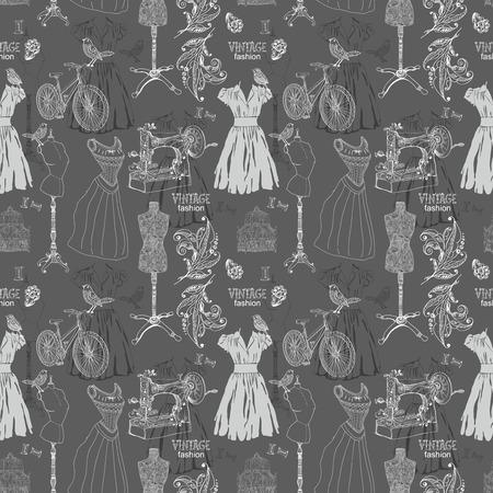 Jahrgang Farbe Nahtlose Muster - Mode Und Nähen, Illustration ...
