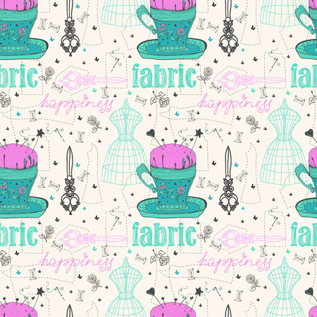 Vintage Color Seamless pattern - fashion and sewing, illustration illustration
