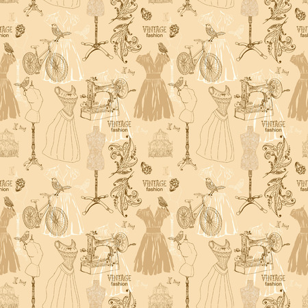 couturier: Vintage Seamless pattern - fashion and sewing, illustration