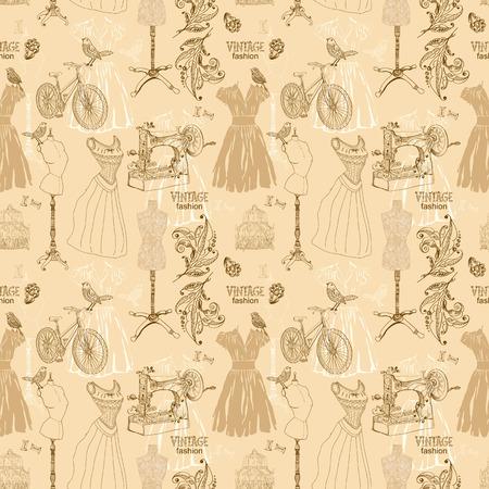 Vintage Seamless pattern - fashion and sewing, illustration illustration