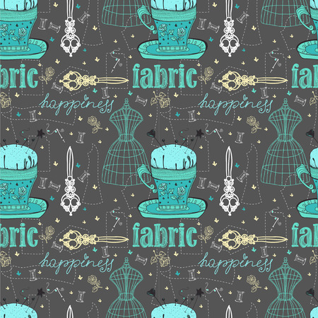 couturier: Vintage Color Seamless pattern - fashion and sewing, illustration Stock Photo