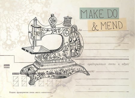 old envelope: Vintage envelope with old sewing machine and text Stock Photo