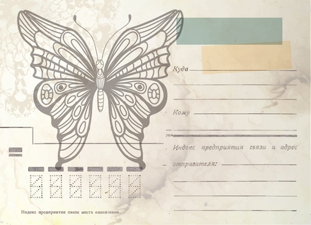 vintage envelope: Sobre de la vendimia con la mariposa, tarjeta del grunge Foto de archivo