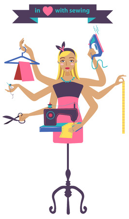 dressmaker: Sewing illustration with dressmaker and differnt tools, craft color beautiful background