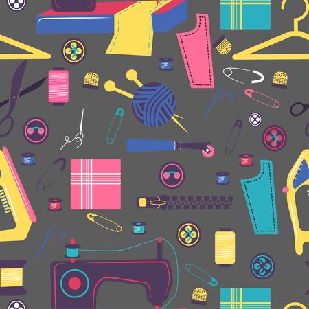 kit de costura: Elementos relacionados Costura, patrón de colores sin fisuras, ilustración artesanía
