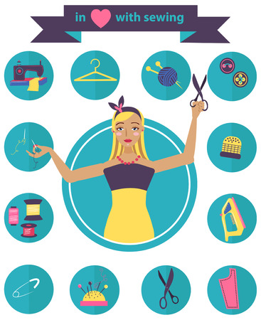 Sewing illustration with dressmaker and differnt tools, craft color beautiful background Vector
