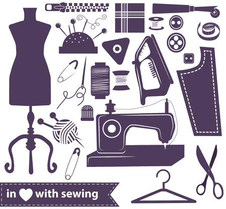 Sewing related elements over white, sewing icon collection Vector
