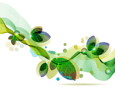 Abstract colorful template background, Brochure design with beautiful wave, natural eco design with leaf  イラスト・ベクター素材