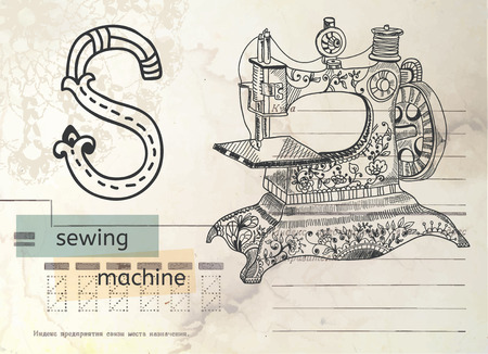 Vintage Alphabet over retro card, letter S with sewing machine