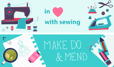 maquinas de coser: Ilustraci�n de costura, dise�o plano, dos banderas de color