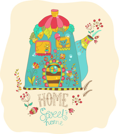 Color cartoon home in teapot with flowers Vector