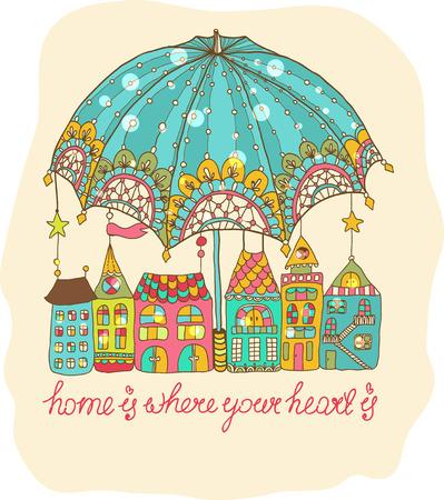 Color cartoon houses under umbrella, cute illustration Vector