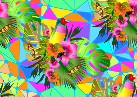 Color tropical flowers and leaves seamless background, bright vibrant kaleidoscope illustration