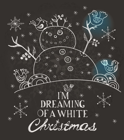Christmas Card for xmas design with hand drawn snowman and birds, chalk style illustration over blackboard with text Vector