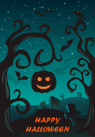 cemetry: Happy Halloween Poster, Holiday illustration with pumpkin lantern and cemetry