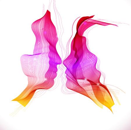愛情のあるカップルのシルエット、2 つの美しい色の抽象的な顔