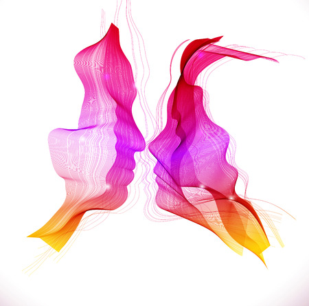 Silhouettes of loving couple, two beautiful color abstract faces
