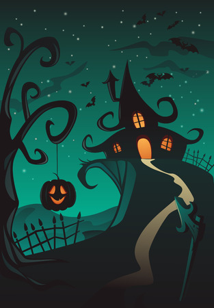 Happy Halloween Poster, Holiday illustration with pumpkin lantern and scary house Vector