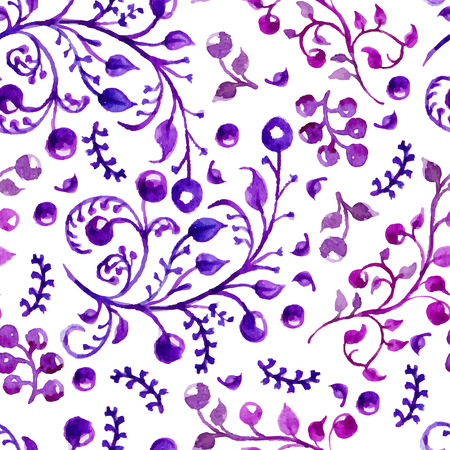 Watercolor natural seamless pattern, beautiful endless background Vector