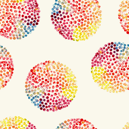 Watercolor circles seamless pattern. Color hand drawn circles ornament. Round shapes pattern. Round shapes. Painted ornament. Vector