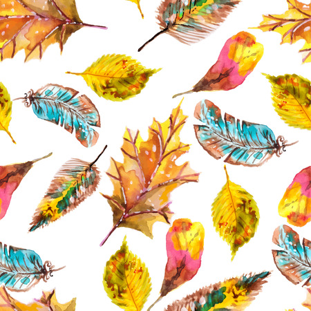 Watercolor natural seamless pattern, beautiful endless background  イラスト・ベクター素材