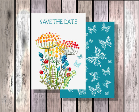 Save the date invitation template illustration with beautiful watercolor wild flowers Vector