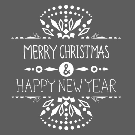 Christmas background with cute decorations and text, Merry Christmas and Happy New Year  illustration for Holiday design Vector