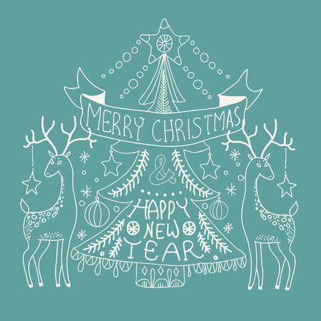 Christmas background with cute decorations and Christmas tree, Merry Christmas illustration for Holiday design Vector
