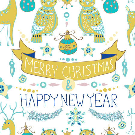 stoke: Christmas background with cute decorations and funny Owls, Merry Christmas illustration for Holiday design, Seamless pattern