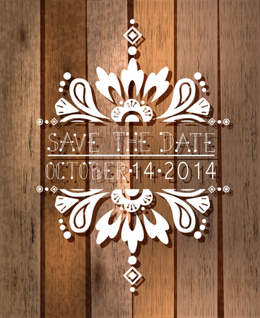 floral save the date invitation card, template illustration with wooden background Vector