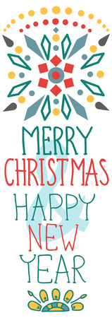 stoke: Christmas background with cute decorations and text, Merry Christmas and Happy New Year  illustration for Holiday design Illustration