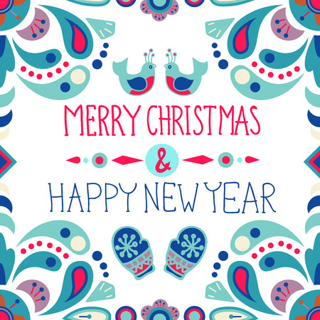 stoke: Christmas background with cute floral ornament and hand drawing text, Christmas and New Year design template