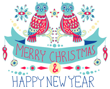 stoke: Christmas background with cute decorations and funny Owls, Merry Christmas illustration for Holiday design