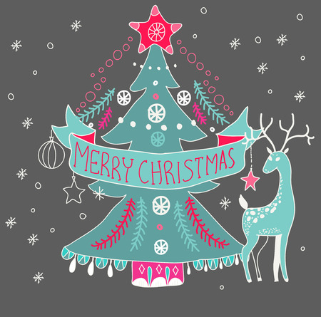 stoke: Christmas background with cute decorations and Christmas tree, Merry Christmas illustration for Holiday design