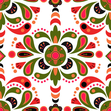 Floral damask seamless pattern background, mexican colorful ornament
