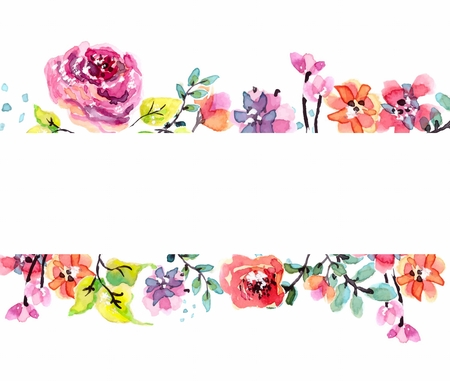 Watercolor floral frame, beautiful natural illustration