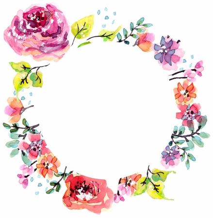 Watercolor floral frame, beautiful natural decorations