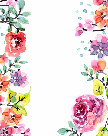 watercolor flower: Watercolor floral frame, beautiful natural illustration