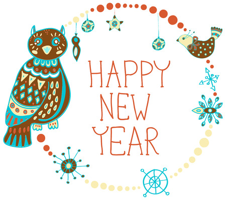 stoke: New Year background with cute decorations and funny Owls
