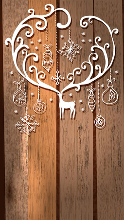 Deer with great horns and decorations for beautiful Holiday design, Christmas and New Year illustration over wooden background  イラスト・ベクター素材