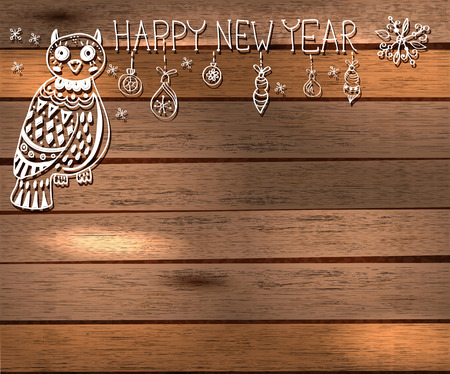 cut paper art: Owl and decorations for beautiful Holiday design, Christmas and New Year illustration over wooden background