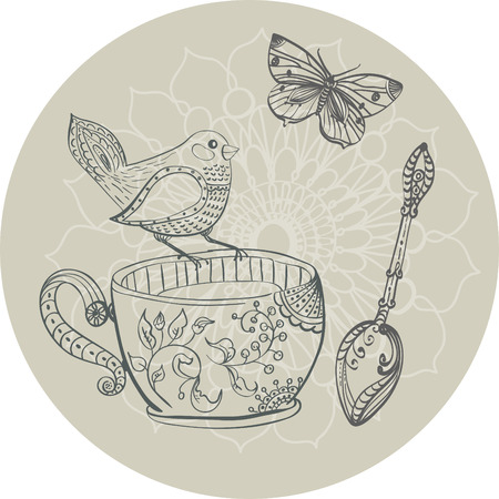 animal time: Tea time illustration with flowers and bird, beautiful background for your design