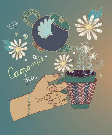 camomile tea: Tea time illustration with flowers and teapot, beautiful background for your design