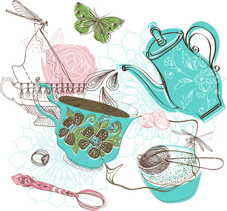 Tea time illustration with flowers, beautiful background for your design