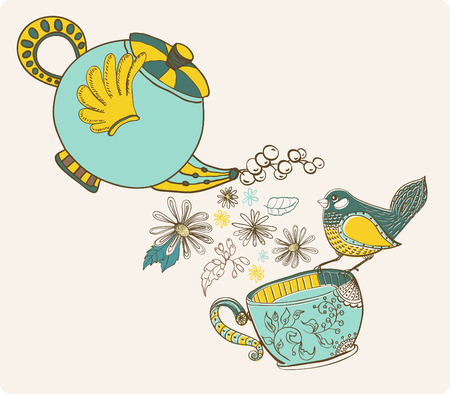 Tea time illustration with flowers and bird, beautiful background for your design