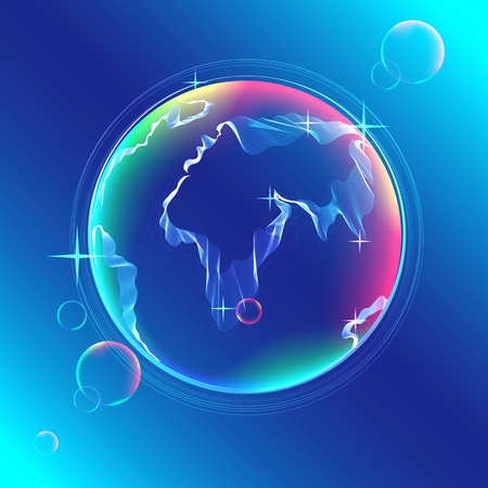 Globe color abstract icon with map of the continents of the world