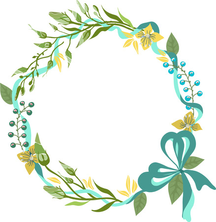 Color floral frame for wedding invitation design, save the date illustration  イラスト・ベクター素材