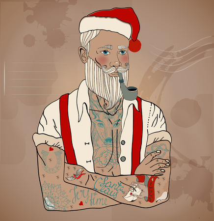 christmas tattoo: Hipster Santa Claus man with old school tattoo, Christmas and New Year illustration